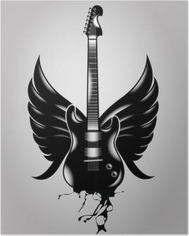 Poster Gitarre alten Schule