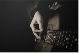 Poster Gitarre auf schwarzem Hintergrund