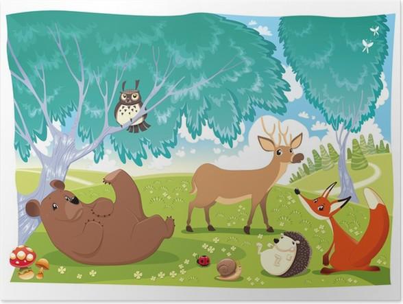 Poster gli animali nel bosco divertente cartone animato e