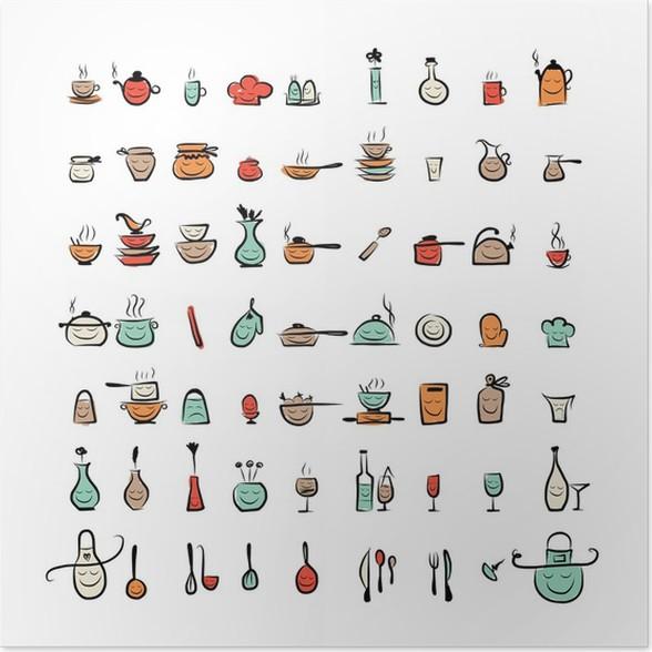 Poster Gli utensili da cucina caratteri, schizzo icone per il vostro ...