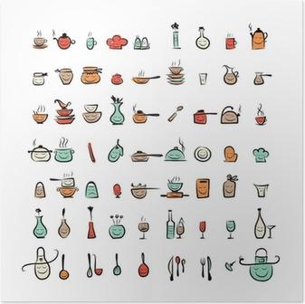Poster Carino roba cucina scarabocchio • Pixers® - Viviamo per il ...