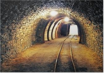 Poster Gold-Mine unterirdischen Tunnel Eisenbahn