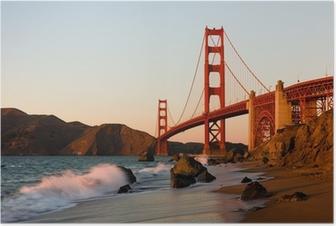 Poster Golden Gate Bridge in San Francisco bei Sonnenuntergang