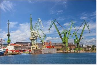 Poster Grandi gru e attraccare al cantiere navale di Danzica, Polonia.