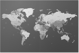 Poster Grigio mappa dettagliata del mondo