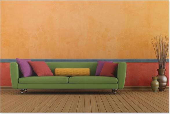 Poster Grün Rot und orange Wohnzimmer • Pixers® - Wir leben, um zu ...