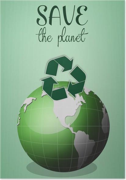 Poster Grüne Erde Für Den Planeten Zu Retten