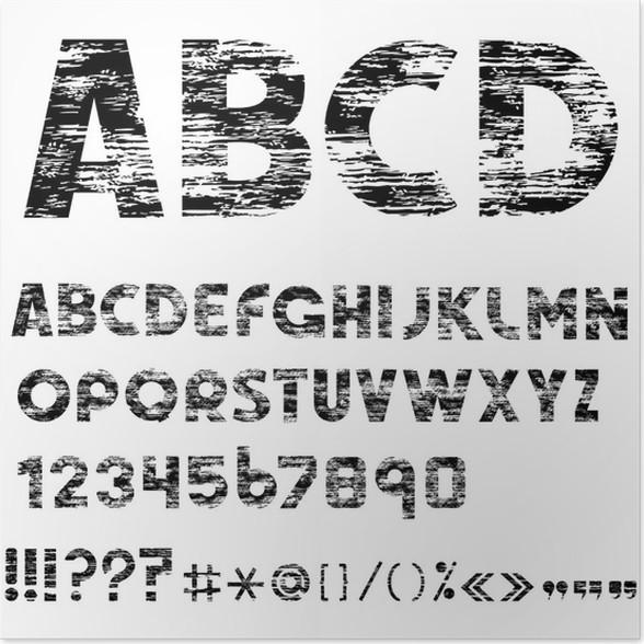 Poster Grunge Alphabet Buchstaben Zahlen Und Satzzeichen Pixers