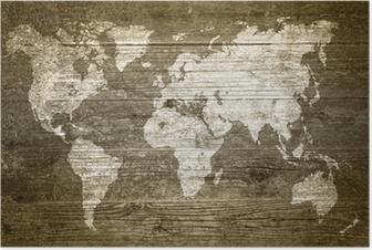 Poster Grunge Legno - Mappa del mondo