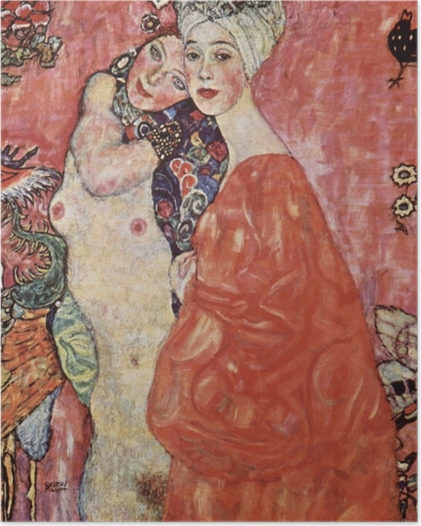 Poster Gustav Klimt - Die Freundinnen - Reproduktion