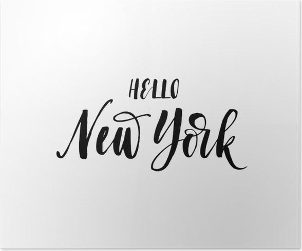 poster hallo new york karte amerikanischen stadt hand gezeichnet schriftzug hintergrund ink. Black Bedroom Furniture Sets. Home Design Ideas