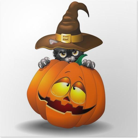 Poster Halloween Gattino Con Zucca-Gattino Nero con Zucca - Feste  Internazionali 8b691201fa69