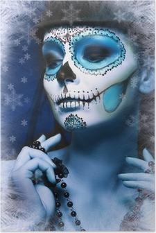 Poster Halloween Make Up Zuckerschädelentwurfs