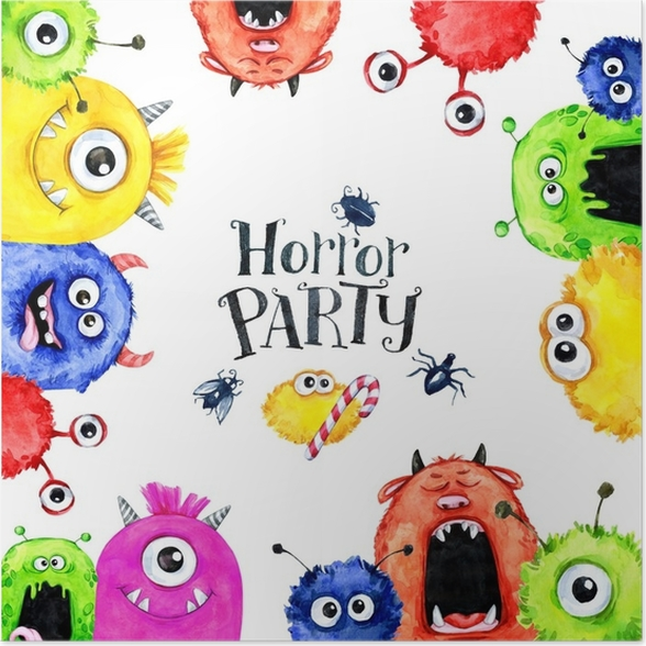 poster hand gezeichneten quadratischen rahmen mit aquarell lustige monster k pfe feier. Black Bedroom Furniture Sets. Home Design Ideas
