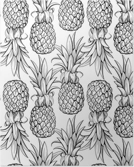Poster HD Ananas seamless pattern