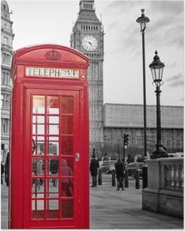 Poster HD Cabina telefonica rossa di Londra con il Big Ben in bianco e nero