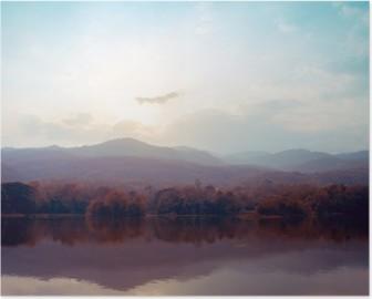 Poster HD Paesaggio di montagna lago in autunno - stili d'epoca.