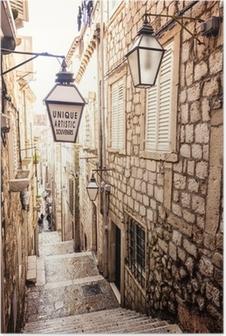 Poster HD Scale ripide e stretta strada nella città vecchia di Dubrovnik