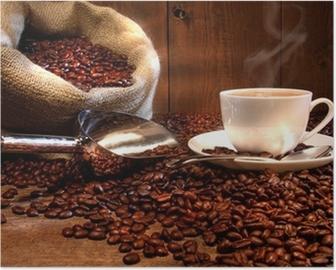 Poster HD Tazza di caffè con sacco di tela di fagioli arrostiti