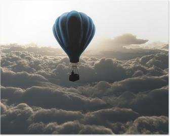Poster Heißluftballon am Himmel