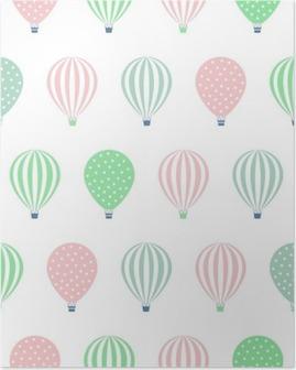 Poster Heißluftballon nahtlose Muster. Baby-Dusche Vektor-Illustrationen auf weißem Hintergrund. Tupfen und Streifen. Pastellfarben Heißluftballons Design.