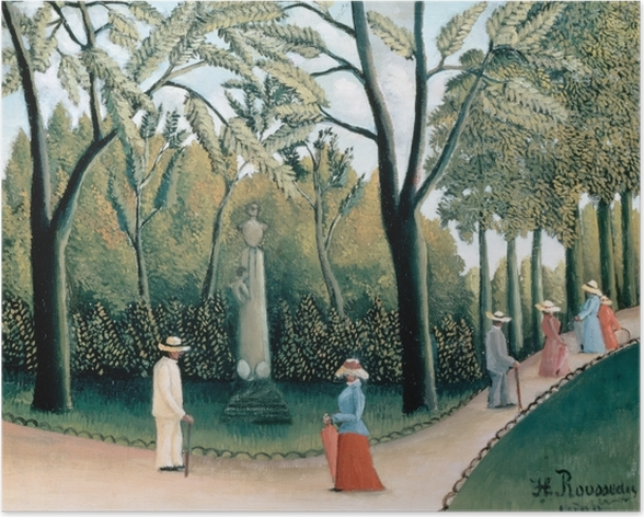 Poster Henri Rousseau - Der Spaziergang im Jardin du Luxembourg, Denkmal Chopins - Reproduktion