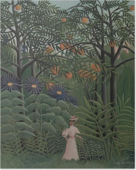 Poster Henri Rousseau - Frau auf einem Spaziergang durch einen exotischen Wald - Reproduktion