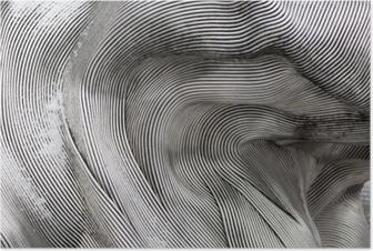 Poster Hintergrundtextur der glänzenden Metalloberfläche. Die gebogene Platte besteht aus Eisen.