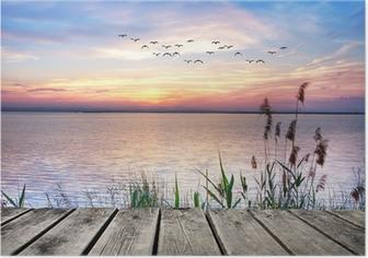 Poster Holzsteg bei Sonnenuntergang
