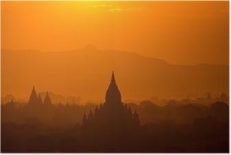 Poster I templi di Bagan al tramonto, Bagan, Myanmar