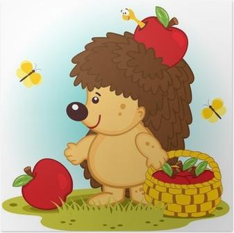 Poster Igel mit Korb mit Äpfeln - Vektor-Illustration.