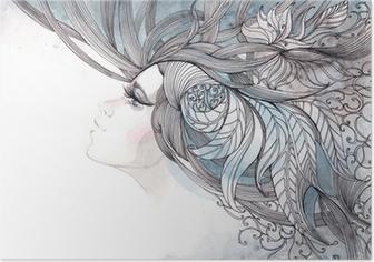Poster Ihr Haar kunstvoll mit Laub