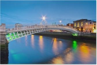 Poster Il ponte Ha'penny a Dublino di notte, Irlanda