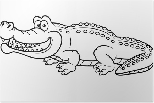 Poster Illustration der Comic-Krokodil - Malbuch • Pixers® - Wir ...
