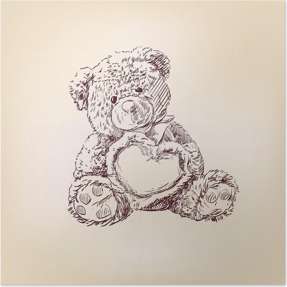 poster illustration der teddyb r mit herz pixers wir leben um zu ver ndern. Black Bedroom Furniture Sets. Home Design Ideas