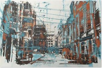 Poster Illustration Malerei des städtischen Straße mit Grunge-Textur