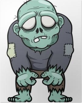 Poster Illustrazione vettoriale di Cartoon zombie