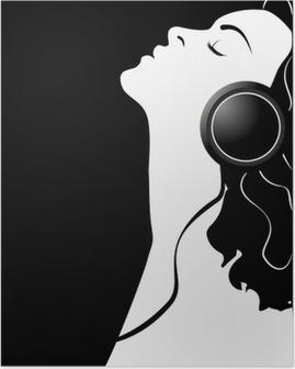 Poster Illustrazione vettoriale di ragazza con le sue cuffie.