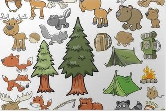 Poster Im Freien Wildlife Camping Vector Design Set