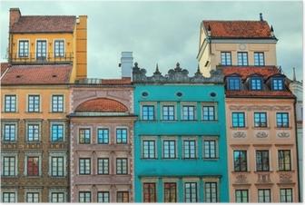 Poster Immagine HDR di vecchie case di Varsavia