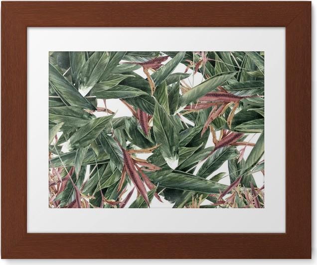 Poster in Cornice Pittura ad acquerello di foglie e fiori, seamless - Hobby e Tempo Libero