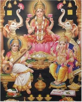 Poster INDIAN GODESS MAA LAKSHMI MIT MAA Saraswati und GANESH JI