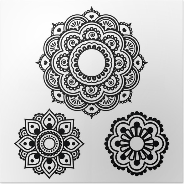 poster indian henna tattoo rundes design mehndi muster pixers wir leben um zu ver ndern. Black Bedroom Furniture Sets. Home Design Ideas