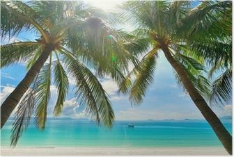 Poster Island Paradise - Palmen hängen über einem weißen Sandstrand