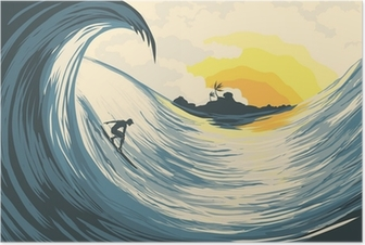 Poster Isola tropicale onda e surfer
