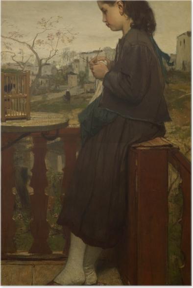 Poster Jacob Maris - Mädchen, das auf einem Balkon in Montmartre strickt - Reproductions