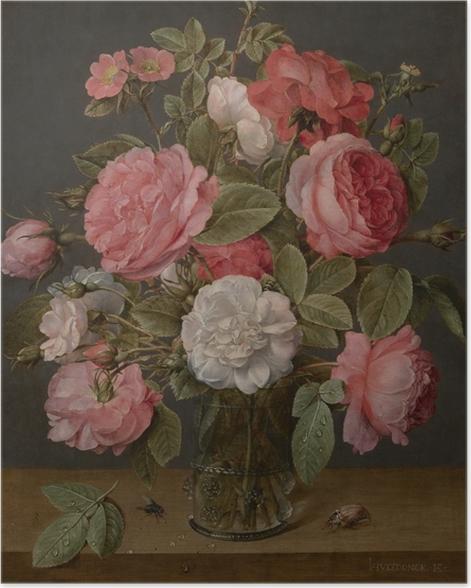 Poster Jacob van Hulsdonck - Roses in a Glass Vase - Reproduktion