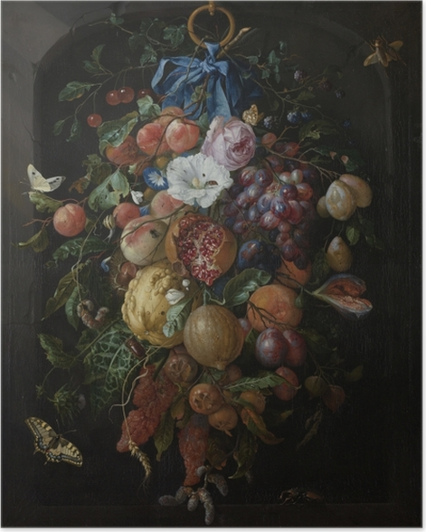 Poster Jan Davidsz - Festoon of Fruit and Flowers - Reproduktion