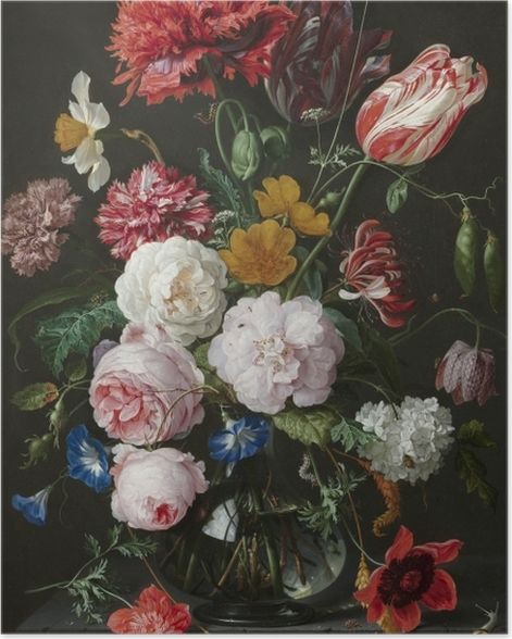 Poster Jan Davidsz - Still Life with Flowers in a Glass Vase - Reproduktion