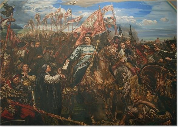 Poster Jan Matejko - Johann III. Sobieski sendet eine Botschaft des Sieges an den Papst nach der Schlacht von Wien (Fragment) -